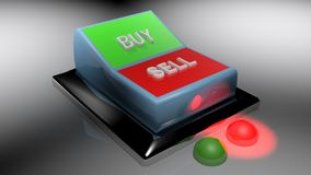 Buy and Sell switch set on Selling position - 3D rendering. A switch gives two options: buy and sell. Selling is selected - 3D rendering Royalty Free Stock Photos
