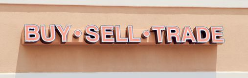 Buy Sell Trade Consignment Shop Sign Stock Photography