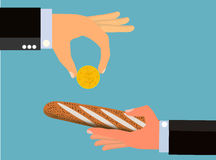Buy and Sell (Vector). An illustration of hands of two businessmen with one handing a coin over to the other businessman who is handing a piece of bread back Royalty Free Stock Image