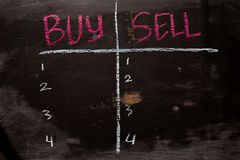 Buy or Sell written with color chalk concept on the blackboard royalty free stock images