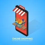 Buy shopping cart full of vegetables. Stock Image
