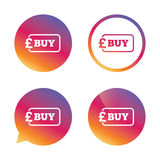 Buy sign icon. Online buying Pound button. Royalty Free Stock Photos