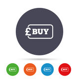 Buy sign icon. Online buying Pound button. Stock Photography