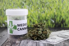 Money obtained from medical cannabis smuggling stock photography