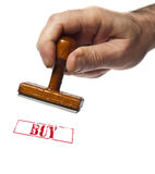 Buy stamp. On white background royalty free stock photography