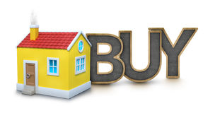 Buy text with 3d house Royalty Free Stock Image