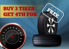 Buy Three Tires Get Fourth for Free Flat Banner stock illustration