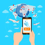 Buy Ticket Online Smart Phone Application Globe Stock Photos