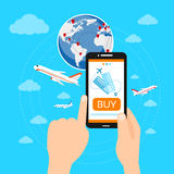 Buy Ticket Online Smart Phone Application Globe Stock Photo