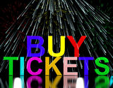 Buy Tickets Words With Fireworks Showing Royalty Free Stock Images