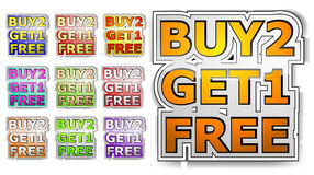 Buy two get one free Royalty Free Stock Images