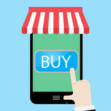 Buy using a smartphone. Buy now button and order now, sale and buy button. Vector illustration Stock Images