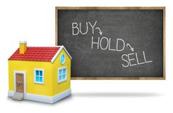 Buy vs hold vs sell on Blackboard with 3d house Stock Photos