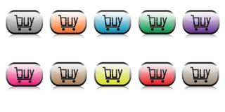 Buy web buttons set. With shopping cart in form of a word buy royalty free illustration