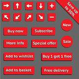 Buy web red buttons for website or app Stock Photography