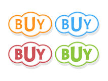 Buy word in bubble icons. Vector illustration Stock Image