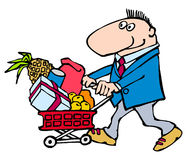 Buyer. Cartoon:  funny man with shopping basket complete various Royalty Free Stock Images