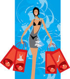 Buyer. Vector image of buyer with few bags after shopping Stock Images