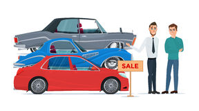 Buyer chooses a new car of the three proposed manager Business Royalty Free Stock Images