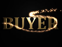 BUYER 3d inscription with luminous line with spark Stock Photography