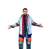 Buyer dressed in many clothes on white background Stock Images