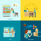 Buyer Flat Icons Set Royalty Free Stock Photo