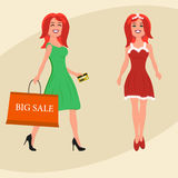 Buyer. Girl with shopping bags from the store and in christmas suit. Sale. Vector illustration of a flat design Stock Photo