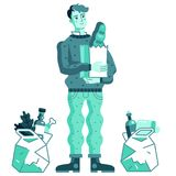 The buyer from the supermarket. The Buyer with Grocery Bags from the Supermarket vector illustration