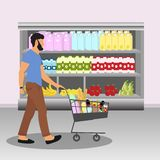 Buyer. Man with cart full of food. Commodities, food, beverages at supermarket. Vector illustration stock illustration