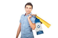 Buyer man with shopping bags Royalty Free Stock Image