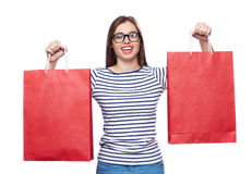 Buyer with paperbags Royalty Free Stock Image