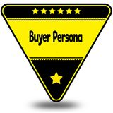 BUYER PERSONA on black and yellow triangle with shadow. Illustration Stock Image