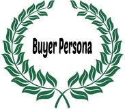 BUYER PERSONA on green laurels sticker label. Illustration image Stock Photo