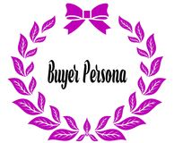 BUYER PERSONA with pink laurels ribbon and bow. Illustration concept Stock Image