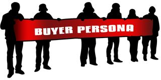 BUYER PERSONA on red banner held by people silhouettes at rally. Illustration Stock Photos