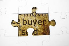 Buyer puzzle. Close up of Buyer puzzle concept stock image