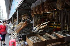 The buyer selects the dried fish at the Asian market Royalty Free Stock Photography