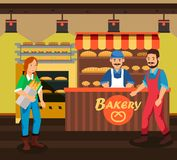 Buyer and Seller at Bakery Cartoon Illustration. Fresh Bread on Market Stall. Woman with Purchase. French Baguette in Paper Package. Pies, Cakes on Shelf royalty free illustration