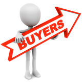 Buyers. Little 3d man holding an arrow pointing at new buyers in red, white background Stock Photo