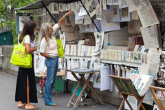 Buyers in art and souvenir shop in Paris, France Stock Photos