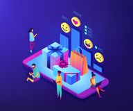 Online gift review isometric 3D concept illustration. Buyers with digital devices choose and rate gifts online and presents on smartphone. Online gift review vector illustration