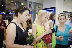 Buyers at the exhibiton Royalty Free Stock Image