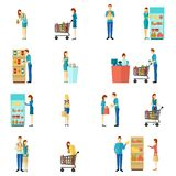 Buyers Flat Icon Set Stock Images
