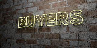 BUYERS - Glowing Neon Sign on stonework wall - 3D rendered royalty free stock illustration. Can be used for online banner ads and direct mailers royalty free illustration