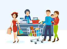 Buyers, go around the store in order to purchase goods. Shop, supermarket interior, healthy eating, people, shopping in a store. Striking girl with food vector illustration