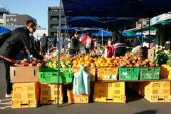 Buyers select fresh vegetables at market. Stock Photography
