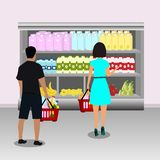 Buyers. Shopping in supermarket royalty free illustration