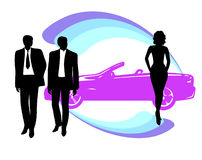 Buyers in the showroom. Business adult vector illustration