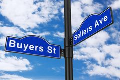 Buyers Street and Sellers Avenue Street Signs. 3d Rendering. Buyers Street and Sellers Avenue Street Signs on a blue sky background. 3d Rendering Stock Photography