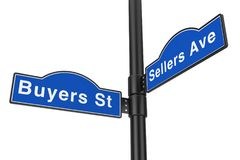 Buyers Street and Sellers Avenue Street Signs. 3d Rendering. Buyers Street and Sellers Avenue Street Signs on a white background. 3d Rendering Stock Photos